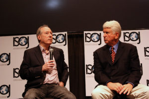 Bob Metcalfe, professor from UT-Austin, and Dan Gillmor, founding director of the Knight Center, speak during the 2012 ISOJ on Apr. 21, 2012. (Nicole Raney/Knight Center)